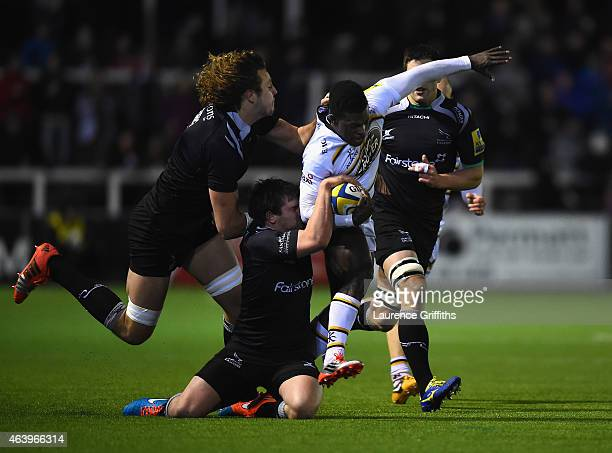 Christian Wade of Wasps is tackled by Adam Powell and Josh Furno of Newcasltew Falcons during the Aviva Premiership match between Newcastle Falcons...