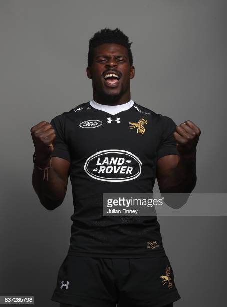 Christian Wade of Wasps poses for a portrait during the Wasps photocall for the 20172018 Aviva Premiership Rugby season at Ricoh Arena on August 22...
