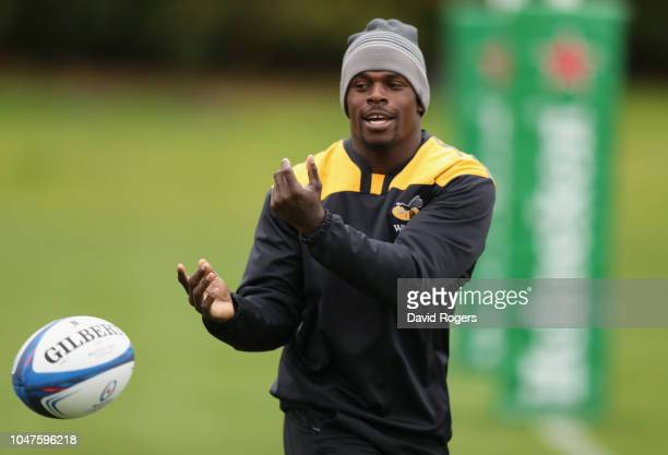 Christian Wade passes the ball during the Wasps training session held on October 8 2018 in Coventry England
