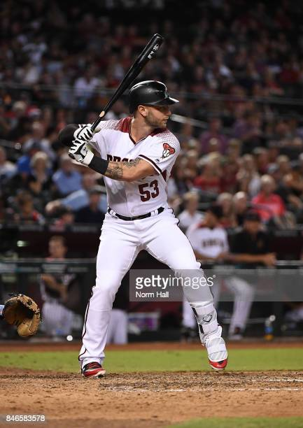 Christian Walker of the Arizona Diamondbacks gets ready in the batters box against the Colorado Rockies at Chase Field on September 11 2017 in...
