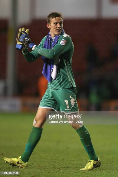 Christian Walton of Wigan Athletic during the Sky Bet League One match between Wigan Athletic and Walsall at Banks' Stadium on March 23 2018 in...