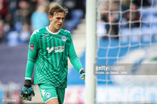 Christian Walton of Wigan Athletic during the The Emirates FA Cup Fourth Round match between Wigan Athletic and West Ham United on January 27 2018 in...