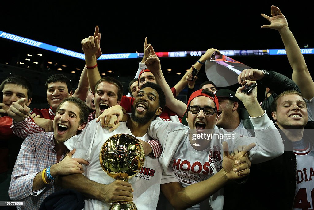 Christian Watford #2 of the Indiana Hoosiers celebrates after the Championship Game of the Legends Classic on November 20,2012 at the Barclays Center in the Brooklyn borough of New York City.The Indiana Hoosiers defeated the Georgetown Hoyas 82-72 in overtime.