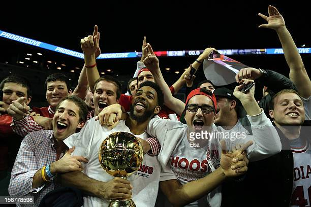 Christian Watford of the Indiana Hoosiers celebrates after the Championship Game of the Legends Classic on November 202012 at the Barclays Center in...