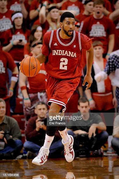 Christian Watford of the Indiana Hoosiers looks for an opportunity to score against the Nebraska Cornhuskers at The Devany Center January 18 2012 in...