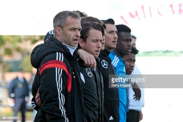Christian Wück of Germany U17 during the athem at the beginnig of the U17 Algarve Cup Tournament Match between Portugal U17 and germany U17 on...