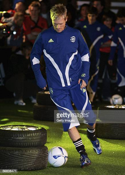 Christian Wilhelmson plays the ball during the Major adidias F50 Tunit Launch Event on February 13 2006 in Munich Germany