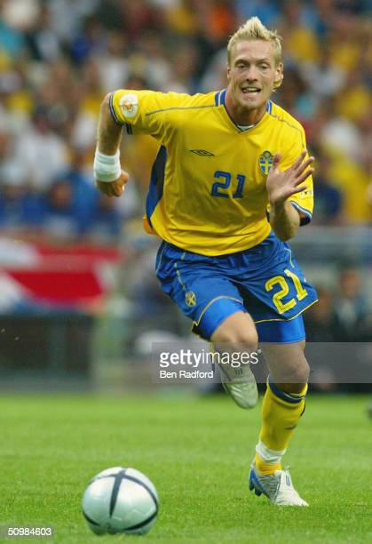 Christian Wilhelmsson of Sweden chases the ball during the UEFA Euro 2004 Group C match between Italy and Sweden on June 18 2004 at the Estadio...
