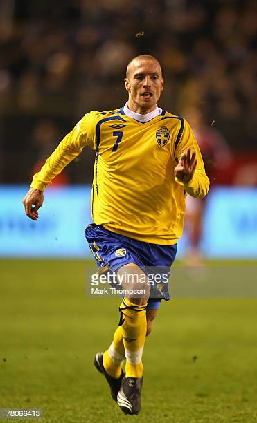 Christian Wilhelmsson of Sweden in action during the Euro 2008 Group F qualifying match between Sweden and Latvia at the Rasunda Stadium on November...
