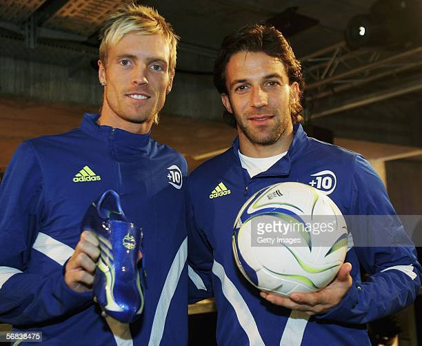 Christian Wilhelmsson poses with Alessandro Del Piero and their new F50 Tunit shoes during the Major adidas F50 Tunit Launch Event on February 13...