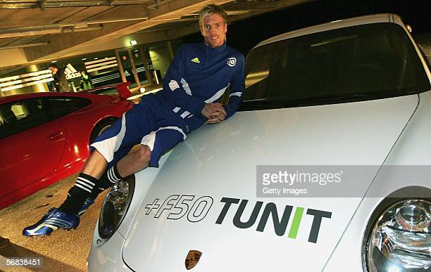 Christian Wilhelmsson poses with his new F50 Tunit shoes during the Major adidas F50 Tunit Launch Event on February 13 2006 in Munich