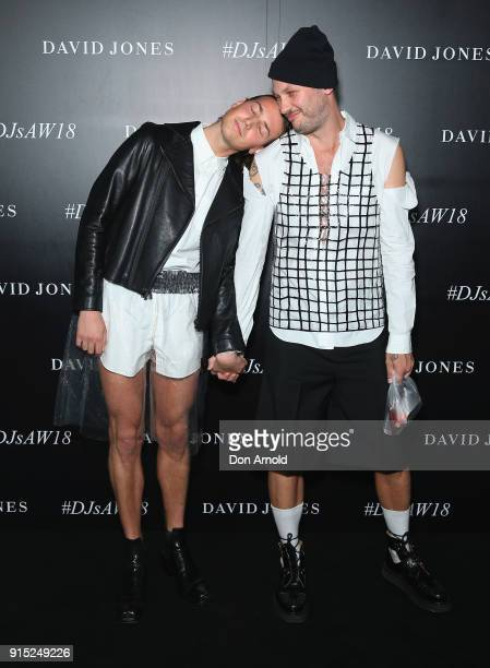 Christian Wilkins and Andrew Kelly arrive ahead of the David Jones Autumn Winter 2018 Collections Launch at Australian Technology Park on February 7...