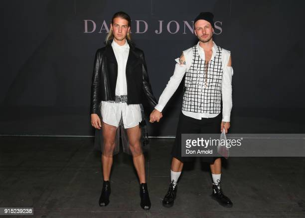 Christian Wilkins and Andrew Kelly pose just after the David Jones Autumn Winter 2018 Collections Launch at Australian Technology Park on February 7...
