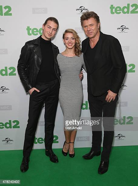 "Christian Wilkins, Embla Bishop and Richard Wilkins arrive for the ""TED 2"" Australian premiere at Event Cinemas, George St on June 24, 2015 in..."