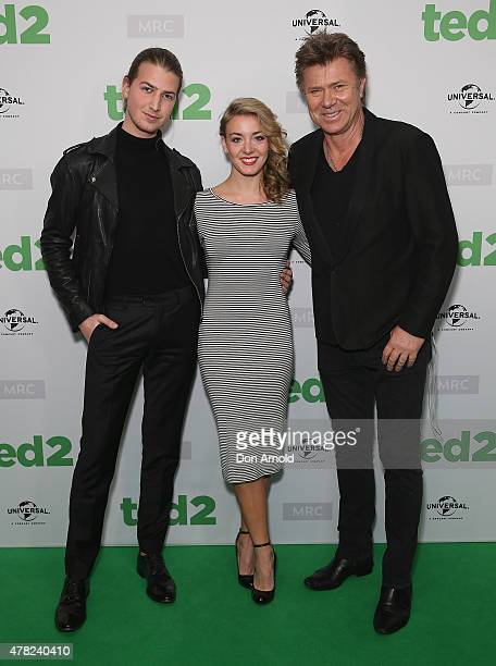 Christian Wilkins Embla Bishop and Richard Wilkins arrive for the TED 2 Australian premiere at Event Cinemas George St on June 24 2015 in Sydney...