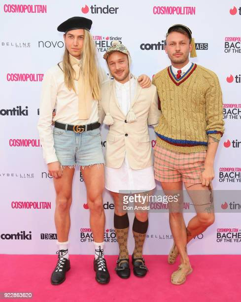 Christian Wilkins Mitch Joselin and Andrew Kelly attend the Cosmopolitan Tinder Bachelor of the Year Awards on February 22 2018 in Sydney Australia