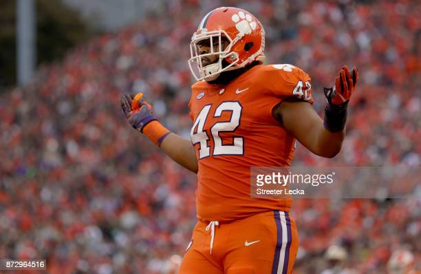 Christian Wilkins of the Clemson Tigers reacts after a play against the Florida State Seminoles during their game at Memorial Stadium on November 11...