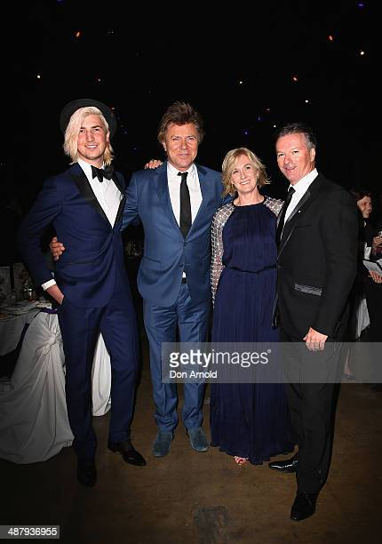 Christian Wilkins, Richard Wilkins, Lynnette Waugh and Steve Waugh arrive at the Cure Brain Cancer Foundation Mad Hatter Ball on May 3, 2014 in...