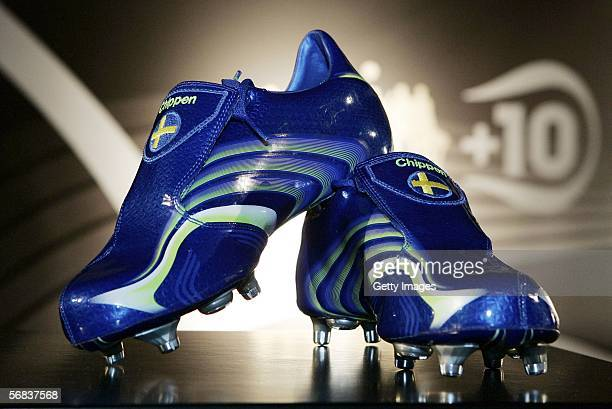 Christian Willhelmsson`s new shoes are displayed during the Major adidias F50 Tunit Launch Event on February 13 2006 in Munich Germany