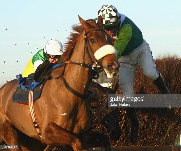 Christian Williams parts company with Herecomesthetruth at the last fence during The totesportcom Peterborough Steeple Chase Race run at Huntingdon...
