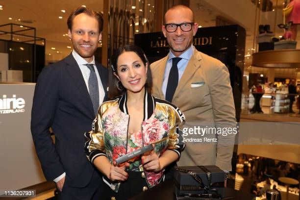 Christian Witt Laila Hamidi and Andreas Rebbelmund attend the 'Easy to pack brushes' launch by Laila Hamidi at Breuninger on March 16 2019 in...