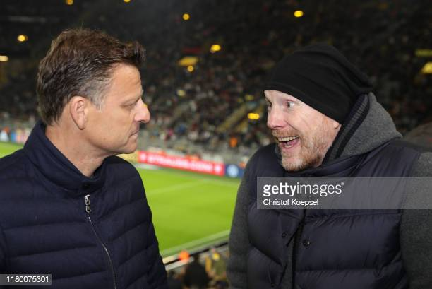 Christian Woerns and Matthias Sammer attend on during the Club Of Former National Players Meeting at Signal Iduna Park on October 09, 2019 in...