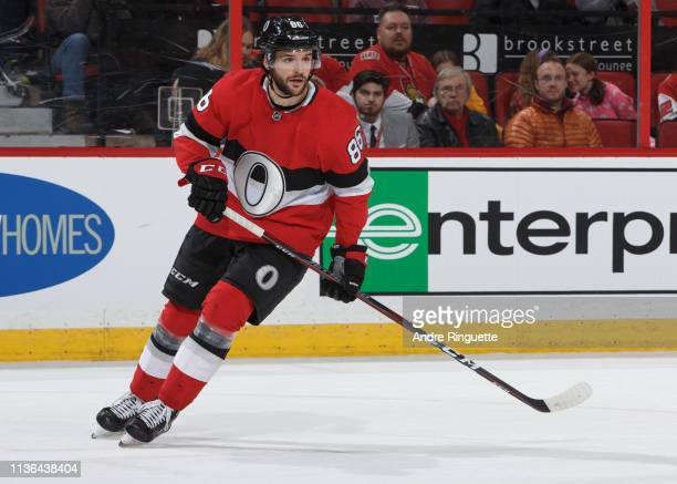 Christian Wolanin of the Ottawa Senators skates against the St Louis Blues at Canadian Tire Centre on March 14 2019 in Ottawa Ontario Canada