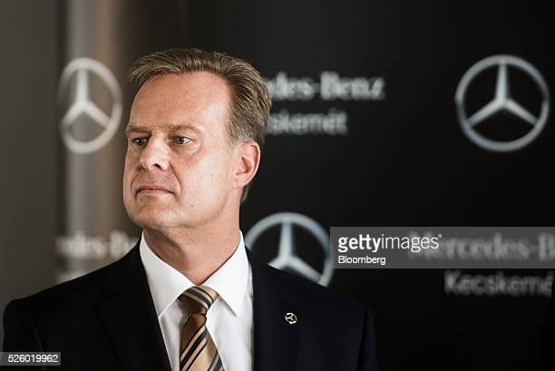 Christian Wolf, chief executive officer of Mercedes-Benz Manufacturing Hungary kft, looks on during a groundstone laying ceremony at the...