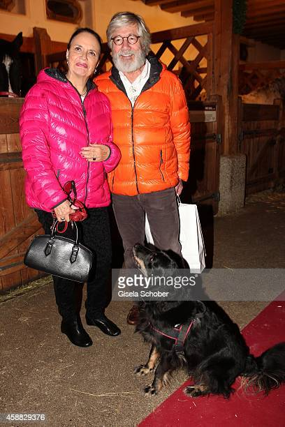Christian Wolff and his wife Marina and their dog Foxl during the Opening of the Gut Aiderbichl Christmas Market on November 11 2014 in Henndorf am...