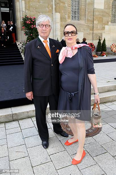Christian Wolff and his wife Marina during the Gerd Kaefer funeral service at AllerheiligenHofkirche in Munich on June 2 2015 in Munich Germany