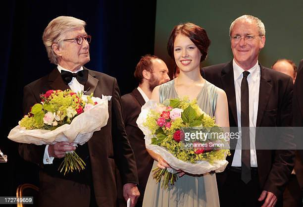 Christian Wolff Paula Beer and August Zirner pose with the award trophy after the Bernhard Wicki Award ceremony at Munich Film Fesitval on July 4...