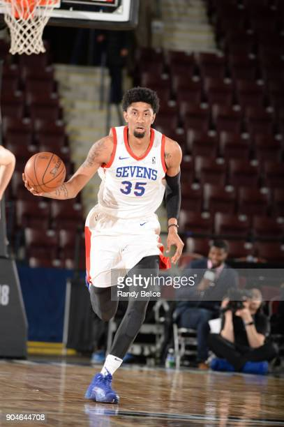 Christian Wood of the Delaware 87ers dribbles the ball during NBA G League Showcase Game 26 between the Reno Bighorns and the Delaware 87ers on...