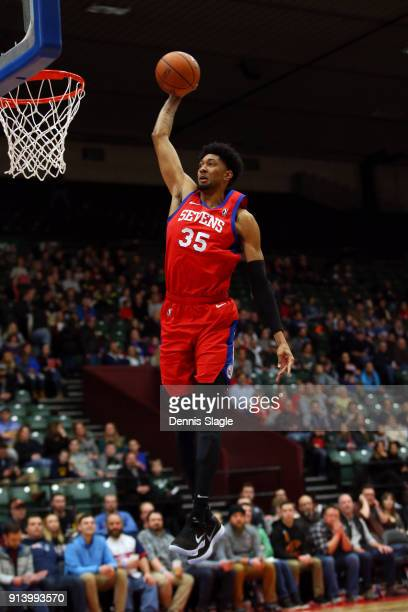 Christian Wood of the Delaware 87ers dunks the ball against the Grand Rapids Drive at The DeltaPlex Arena for the NBA GLeague on FEBRUARY 03 2018 in...