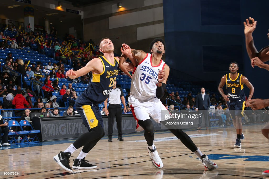 Christian Wood #35 of the Delaware 87ers fights for positioning against Jarrod Uthoff #20 of the Fort Wayne Mad Ants during a G-League at the Bob Carpenter Center in Newark, Delaware on January 17, 2018.