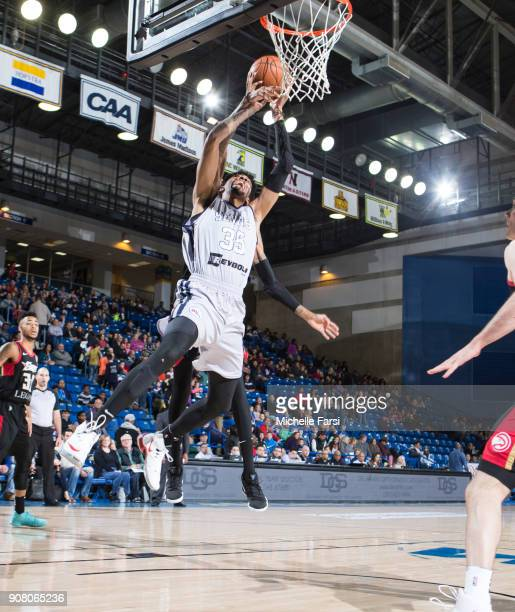Christian Wood of the Delaware 87ers shoots against the Erie BayHawks during an NBA GLeague game on January 20 2018 at the Bob Carpenter Center...