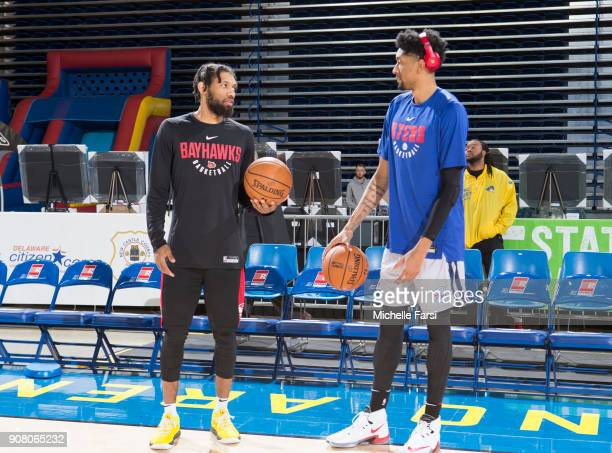 Christian Wood of the Deleware 87ers and DeAndre'Bembry of the Delaware 87ers talk before the Erie BayHawks v the Delaware 87ers NBA GLeague game on...