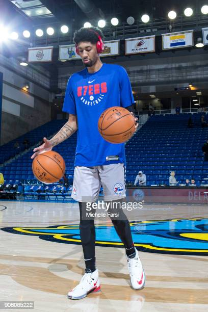 Christian Wood of the Deleware 87ers warmups before the Erie BayHawks v the Delaware 87ers NBA GLeague game on January 20 2018 at the Bob Carpenter...