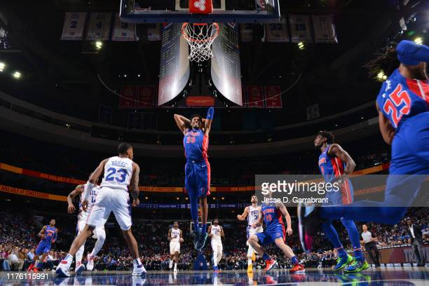 Christian Wood of the Detroit Pistons dunks the ball against the Philadelphia 76ers during a preseason game on October 15 2019 at the Wells Fargo...