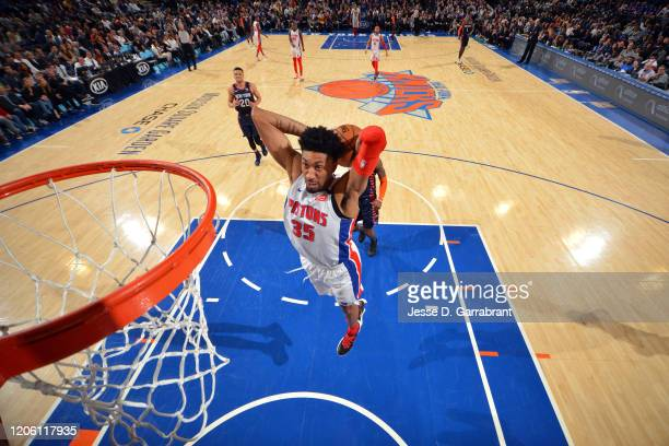 Christian Wood of the Detroit Pistons dunks the ball during the game against the New York Knicks on March 8 2020 at Madison Square Garden in New York...