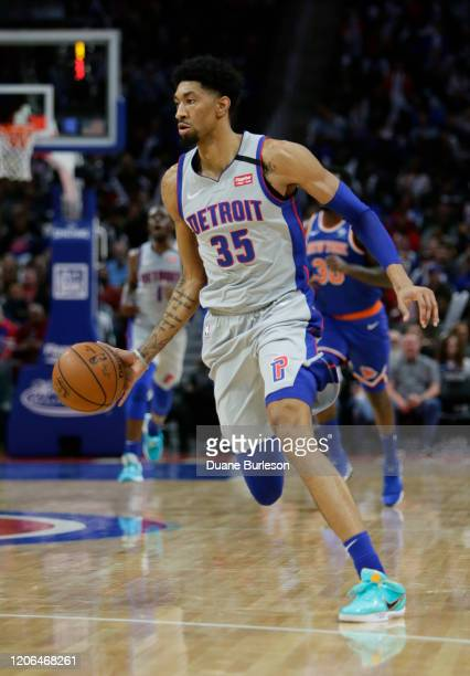 Christian Wood of the Detroit Pistons during the second half of a game against the New York Knicks at Little Caesars Arena on February 8 in Detroit...