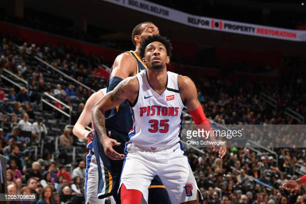 Christian Wood of the Detroit Pistons fights for position on March 7 2020 at Little Caesars Arena in Detroit Michigan NOTE TO USER User expressly...