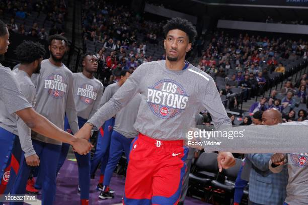 Christian Wood of the Detroit Pistons gets introduced into the starting lineup against the Sacramento Kings on March 1 2020 at Golden 1 Center in...