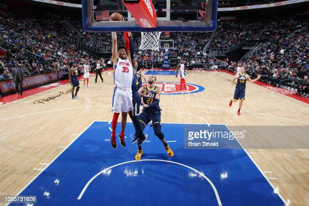 Christian Wood of the Detroit Pistons goes up for a dunk during the game against the Utah Jazz on March 7 2020 at Little Caesars Arena in Detroit...