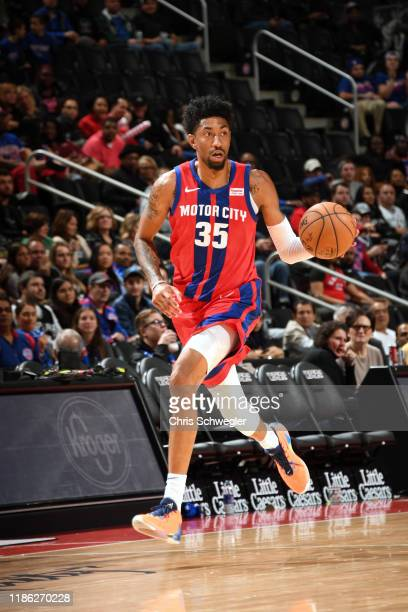 Christian Wood of the Detroit Pistons handles the ball against the San Antonio Spurs on December 1 2019 at Little Caesars Arena in Detroit Michigan...