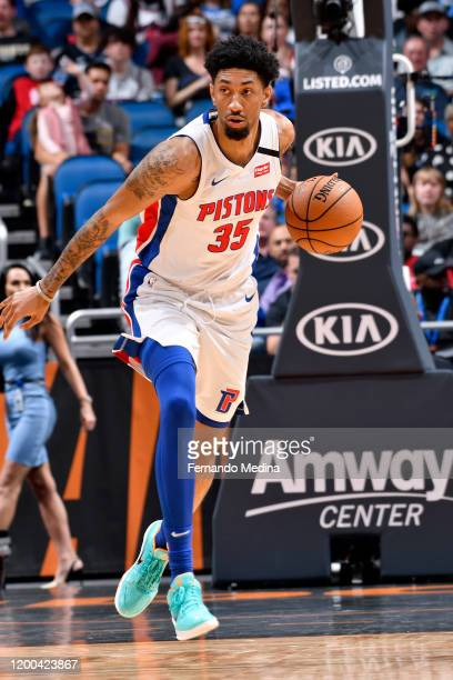 Christian Wood of the Detroit Pistons handles the ball during the game against the Orlando Magic on February 12 2020 at Amway Center in Orlando...