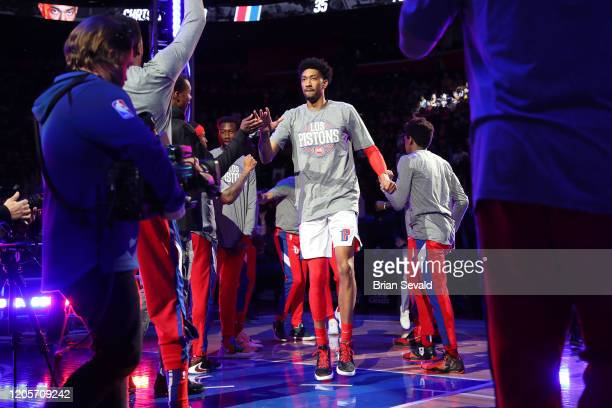 Christian Wood of the Detroit Pistons introduced prior to the game against the Utah Jazz on March 7 2020 at Little Caesars Arena in Detroit Michigan...