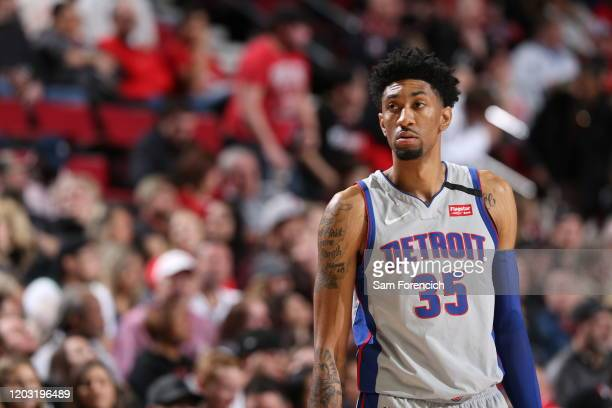 Christian Wood of the Detroit Pistons looks on during the game against the Portland Trail Blazers on February 23 2020 at the Moda Center Arena in...