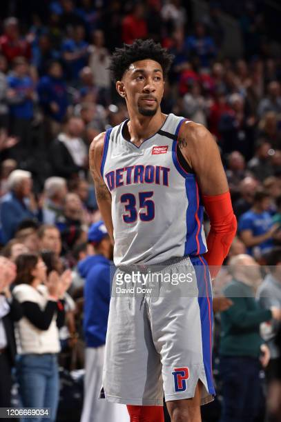 Christian Wood of the Detroit Pistons looks on during the game against the Philadelphia 76ers on March 11 2020 at the Wells Fargo Center in...
