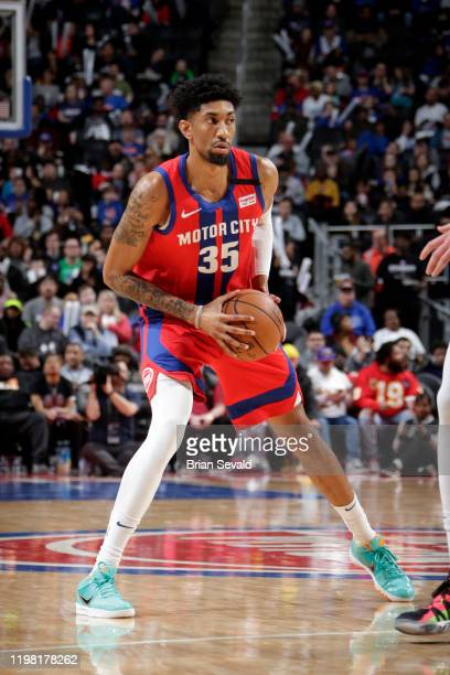 Christian Wood of the Detroit Pistons looks to pass the ball against the Denver Nuggets on February 2 2020 at Little Caesars Arena in Detroit...