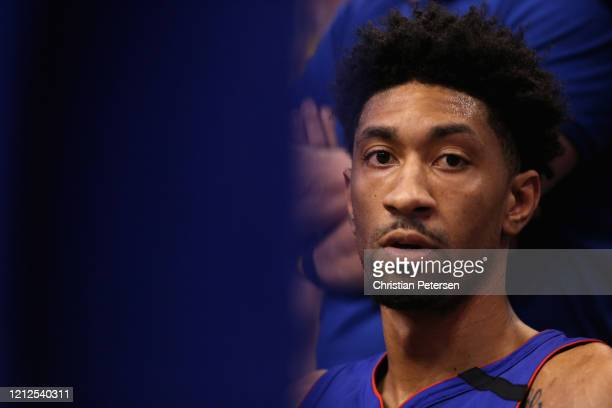 Christian Wood of the Detroit Pistons on the bench during the second half of the NBA game against the Phoenix Suns at Talking Stick Resort Arena on...